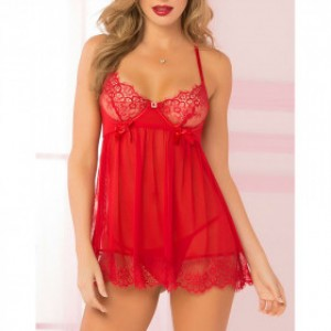 Red Wired Babydoll and G-String Lingerie Set-1725-2